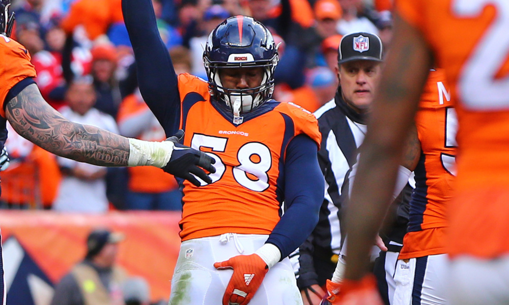 Jan 24, 2016; Denver, CO, USA; Denver Broncos linebacker Von Miller (58) grabs his crotch as he celebrates a sack against the New England Patriots in the AFC Championship football game at Sports Authority Field at Mile High. The Broncos defeated the Patriots 20-18 to advance to the Super Bowl. Mandatory Credit: Mark J. Rebilas-USA TODAY Sports