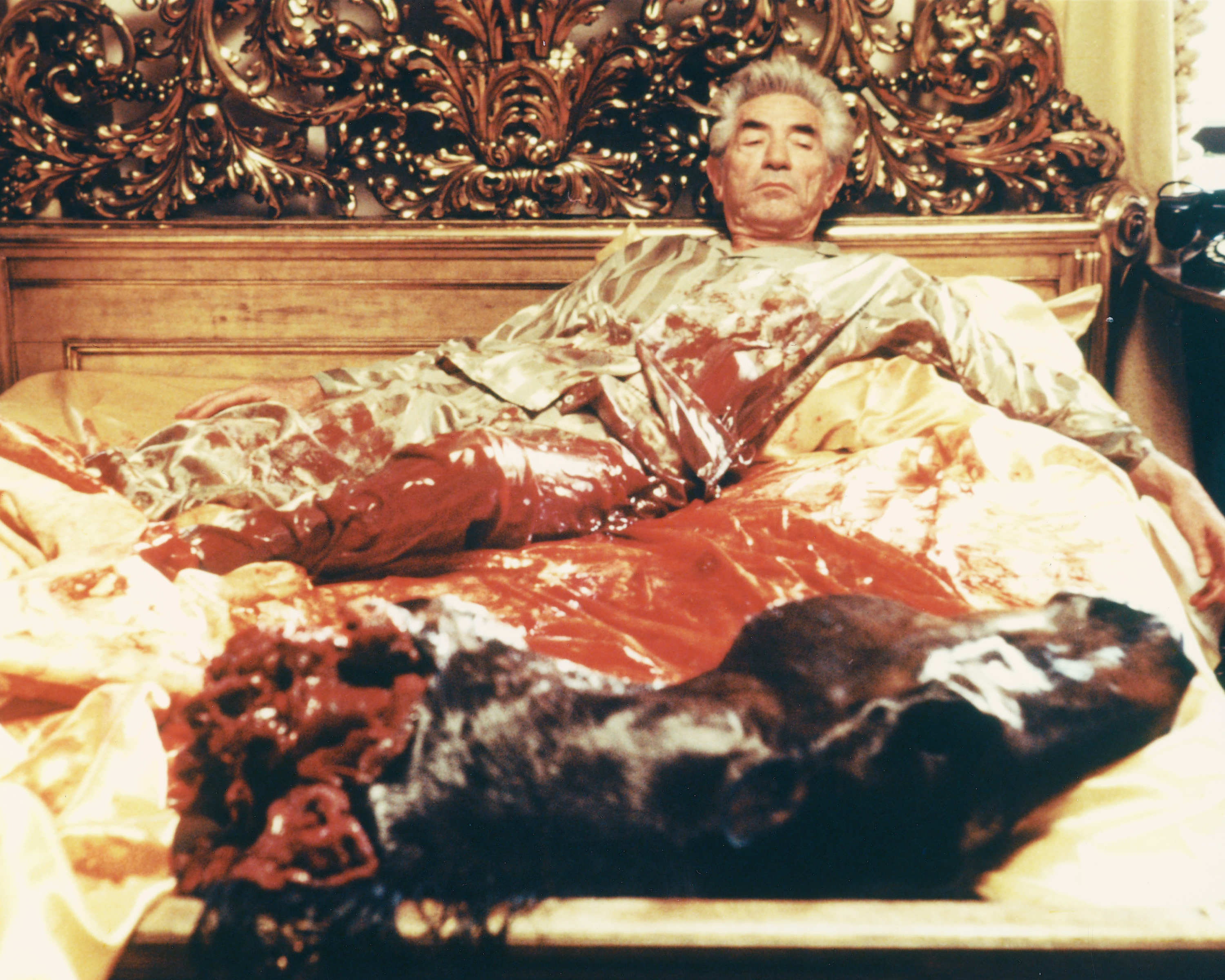 John Marley (1907-1984), US actor, wearing striped pyjamas in bed, with blood-stained bedclothes and the severed head of his horse at the foot of the bed in a publicity still issued for the film, 'The Godfather', 1972. The mafia drama, directed by Francis Ford Coppola, starred Marley as 'Jack Woltz'. (Photo by Silver Screen Collection/Getty Images)