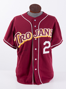 ChabDog-USC-Trojans-Game-Worn-Road-Baseball-Jersey-Signed-and-Worn-by-Seth-Davidson-Front